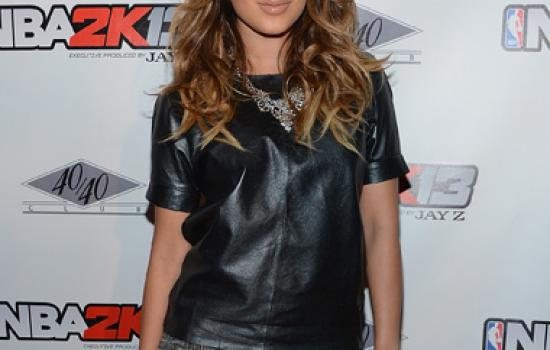 Adrienne Bailon in a leather shirt at the NBA 2K13 Launch