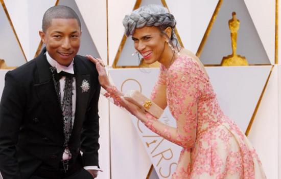 Oscars 2017: Pharrell Williams Hits the Red Carpet with Mimi Valdes