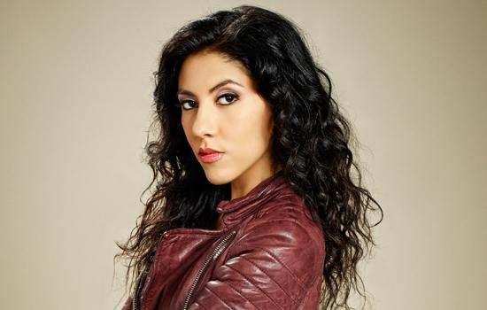 Stephanie Beatriz in leather jacket for Brooklyn Nine-Nine