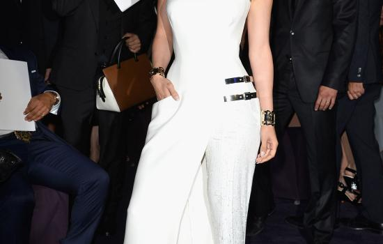 Jennifer Lopez at the Versace fashion show during Paris Fashion Week