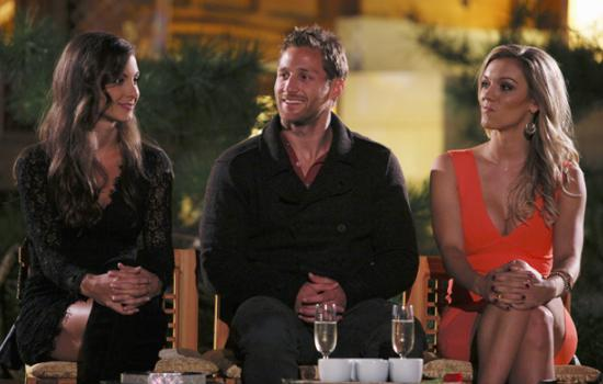 Juan Pablo with Cassandra and Kat on The Bachelor