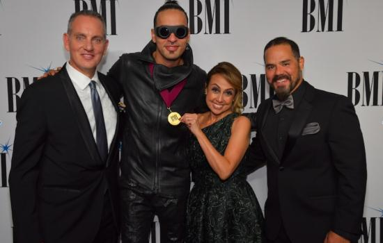 Mike O'Neill- BMI's President & CEO, Motiff, BMI's Delia Orjuela and Joey Mercado at the BMI Latin Music Gala in Los Angeles