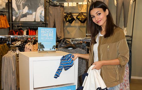 Victoria Justice Recycles Clothing at H&M