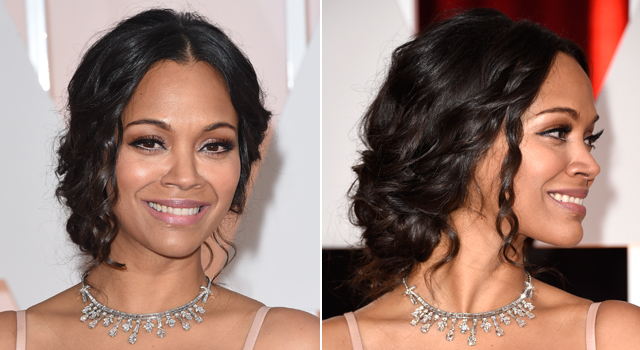 Get The Look: Zoe Saldaña's Flawless Red Carpet Beauty From The Oscars 2015!